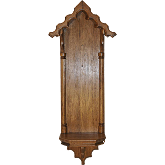 Vintage Religious French Gothic Wall Chapel for Statue or Display Item Oak