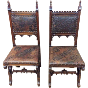 Antique French Gothic Chairs Pressed Leather 19th Century