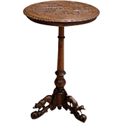 Antique French Hunt Occasional Table With Animals Oak 19th Century