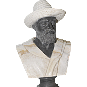LARGE Marble Bust Well Carved Model Ernest Hemingway Panama Jack