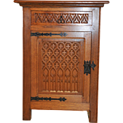 Nice Small Vintage Gothic Cabinet with Forged Iron Hardware, 1930's