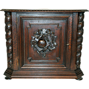 Antique French Corner Cabinet Barley Twist in Solid Oak 19th Century