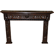 Antique French Breton Fireplace Surround in Oak Great Carving Lots of Detail SPECIAL PRICE