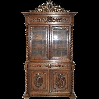 Antique French Hunt Bookcase with Barley Twist Columns, Oak