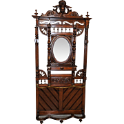 French Renaissance Mirrored Coat in Oak GREAT Hardware Circa 1920