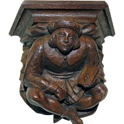 Antique French Gothic Wall Jester in Solid Hand Carved Oak 19th Century
