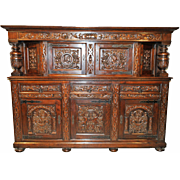 "Attractively Carved French Tudor Cabinet in Oak, Very Large 100"" wide"