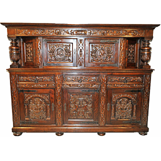 """Attractively Carved French Tudor Cabinet in Oak, Very Large 100"""" wide"""