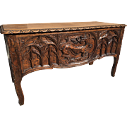 Antique French Gothic Trunk or Bench Seating- Carved Dragon Details- Oak