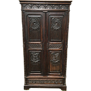 Antique French Gothic Armoire Storage Cabinet in Oak 19th Century