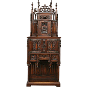 Antique French Gothic Cabinet THE BEST Many Carved Statues High Spires Art in Furniture