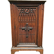 Antique Religious French Gothic Cabinet with Large Crucifix in Oak 19th Century