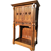 Antique French Gothic Cabinet Liquor Bar Mirrored Interior Doors Solid Walnut Carved Faces