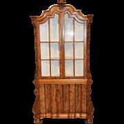 Italian Baroque China Display Corner Cabinet Walnut Burl Woods