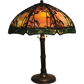 Beautiful Handel Scenic Bamboo Table Lamp Stunning Sunset Glass