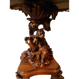 Stunning Italian Baroque Dining Table with Marvelous Large Cherub Base, Floral Inlay Design  sku#1804