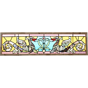 Antique French Gothic Leaded Glass Transom Window with Mythical Dragons
