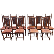 Antique French Gothic Chairs RARE Impressive Set of 10 in Oak, Leather Cushions, Fleur de Lis