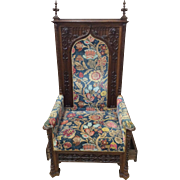 RARE Antique French Gothic Arm Chair One of a Kind Model 19th Century in OAK Hidden Drawers