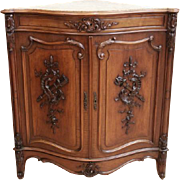 Antique French Corner Cabinet Louis XV Bombe Design Marble Top 19th Century In Walnut