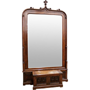 Monumental Antique French Gothic Mirror in Walnut 19th Century AMAZING Foyer Furniture