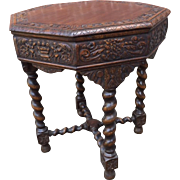 French Tudor Occasional Side Lamp Table in Oak Circa 1920