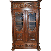 Beautiful Antique French Breton Bookcase VERY SPECIAL Carved Model