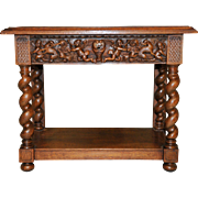 Antique French Renaissance Console Occasional or Lamp Table Cherubs in Pursuit of Demons