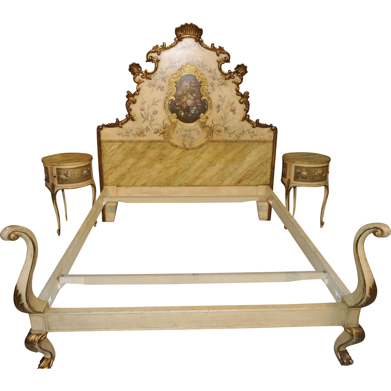 Beautiful vintage french hand painted italian baroque for French baroque bed