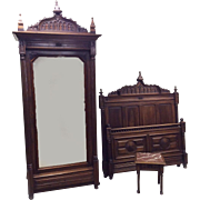 Antique French Gothic Bedroom Circa 1890 Walnut Mirrored Armoire GREAT VALUE
