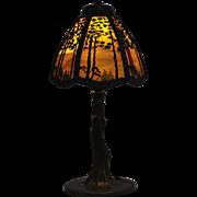 Handel Pine Tree Overlay Boudoir Lamp Crooked Tree Base