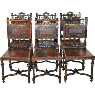 Attractive set of Six Antique French Renaissance Leather Dining Chairs, Walnut, Turn of the Century