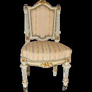Vingtage Petite French Louis XVI Painted Side Chair Circa 1930