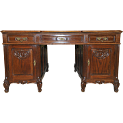 Vintage French Provincial Partners Desk Large Model in Oak