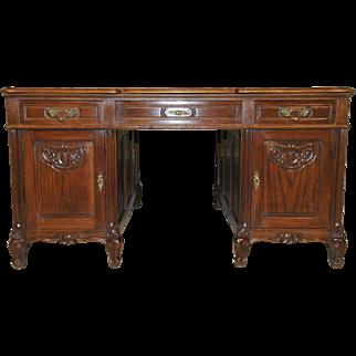 Vintage French Provincial Partners Desk Large Model in Oak