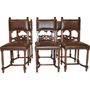 Lovely set of Six French Henri II Dining Chairs, Leather, Circa 1940's