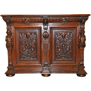 Antique French Renaissance Cabinet or Sideboard in Oak a Beauty Large Carved Statues and More