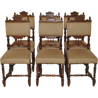 Antique French Victorian, Henri II Dining Side Chairs Matching Set Great Model and Comfortable