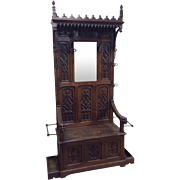 Antique French Gothic Mirrored Bench Hooded Model Throne Chair Design Carved Bishop Heads