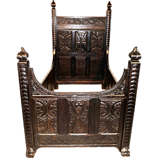 Amazing Heavily Carved Gothic Bed, Oak Circa 1890