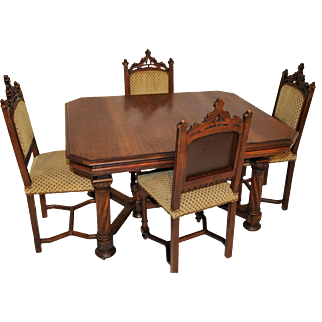 Antique French Gothic Dining Table & Four Chairs, Walnut, 19th Century