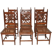 Amazing Set of Six Gothic Dining Chairs, Cane Seats, 19th Century