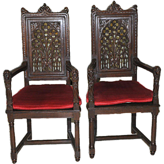 Antique French Gothic Cabinet Arm Chairs Wonderful Carving Pierced Backs 19th Century