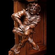 RARE Antique French Jester Whimsical Court Joker Corner Cabinet Walnut 19th Century