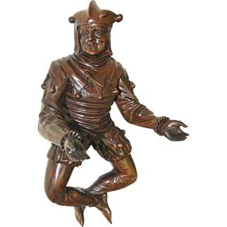 Large Antique Carved French Court Jester, Walnut, Circa 1900