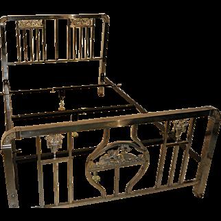 Antique Art Nouveau Metal Bed, 19th Century