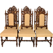 Attractive set of Six Antique French Hunt Chairs, Barley Twist, 19th Century