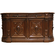 Antique French Renaissance Bombe Server Sideboard or Credenza Carved Busts Best Quality