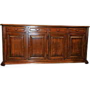 Vintage French Country Dining Room Sideboard or Office Credenza Solid Oak