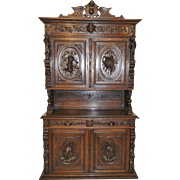 Heavily Carved Antique French Hunt Cabinet, Oak, 19th Century, Great Pricing